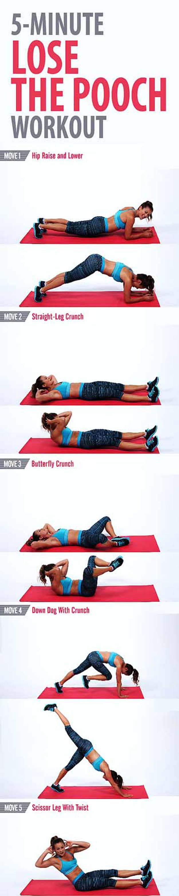Best Exercises for Abs - 5-Minute Lose the Pooch Workout - Best Ab Exercises And Ab Workouts For A Flat Stomach, Increased Health Fitness, And Weightless. Ab Exercises For Women, For Men, And For Kids. Great With A Diet To Help With Losing Weight From The