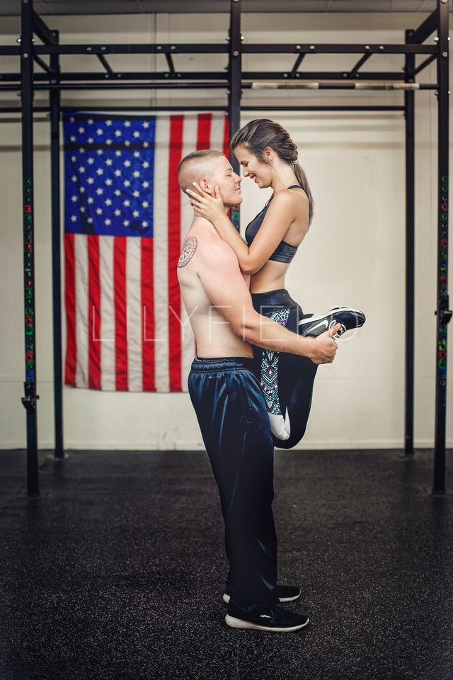 Fitness Couple. Engagement Session. Military Couple. photographer | Courtney Hollowell  www.lilyfield.co https://www.facebook.com/lilyfieldcustomimagery/ lilyfieldcustomimagery@gmail.com instagram | @lilyfield_ https://www.pinterest.com/lilyfield72450/ Gym Engagement Photos.