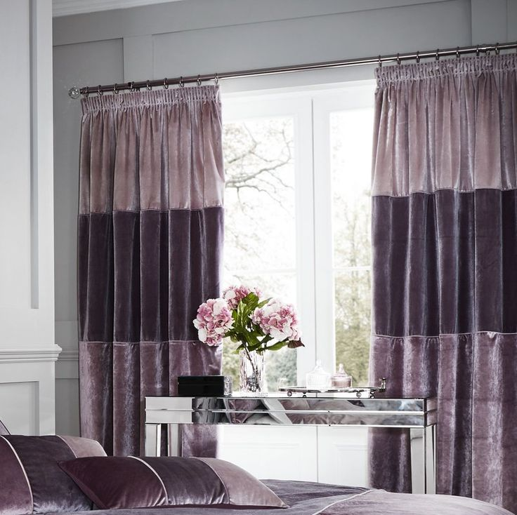 Velvet Bands Eyelet Room Darkening Curtains in violet/lavender