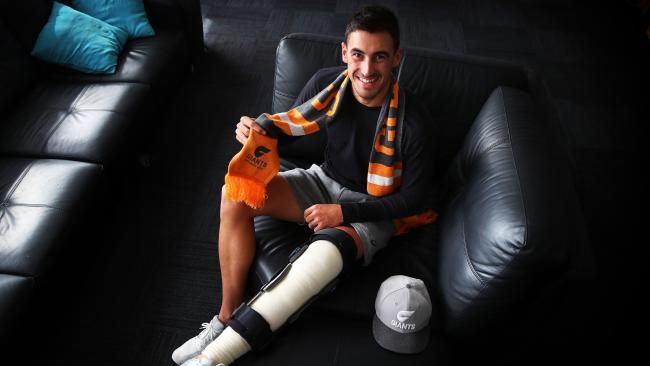 Starc and his new companion - a knee brace. Picture: Phil Hillyard.