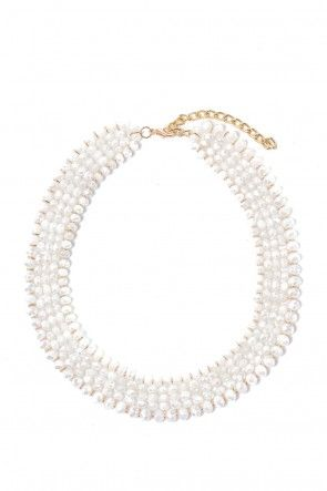 Rebecca Beaded Necklace in White
