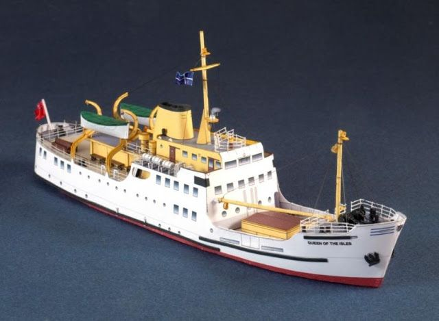 By Paper Shipwright, British website, this is the The Queen of the Isles, in 1/250 scale. The MV Queen of the Isles was a small passenger/cargo ferry launched in 1964 to provide extra capacity on the route from Cornwall to the Scilly Isles. Traffic declined and she was sold, serving as an excursion steamer in the Irish Sea, as a ferry around Tongo in the Pacific and as a small cruise ship – before being abandoned as a derelict hulk in New Zealand. -  free model, register (free) then download