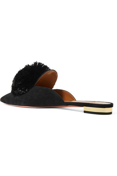 Aquazzura - Powder Puff Pompom-embellished Suede Slippers - Black - IT36.5