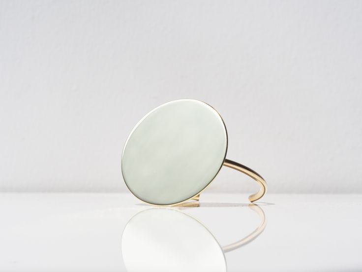 O - Mirror Disk Cuff #bingwjewellery #design #modern #minimalist #simple #handcraft #oversized #statement #jewelry #brass #disk #gold #cuff #bangle #fashion #accessories