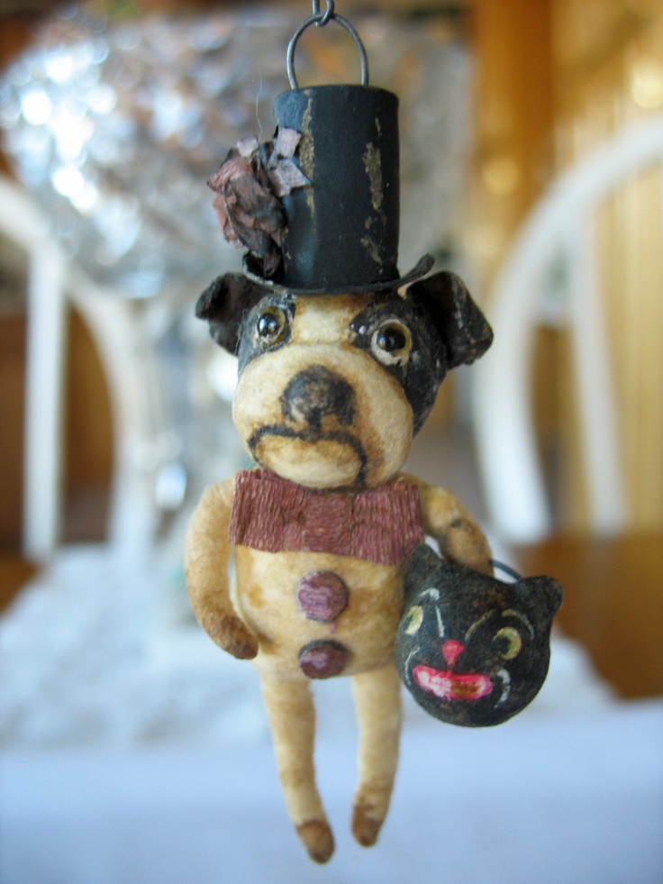 Boston Terrier spun cotton ornament