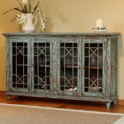 970 SERVING TABLE W/ 4 DOORS AND DISTRESSED FINISH BY ARTISAN HOME BY INTERNATIONAL FURNITURE