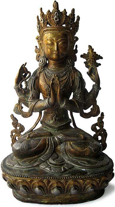 "Gilt Bronze Figure of Avalokiteshvara, Tibet, 19th Century, 12.5"" high."