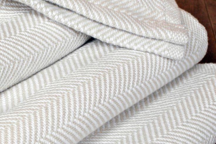 Luxury Herringbone Blanket - Oyster