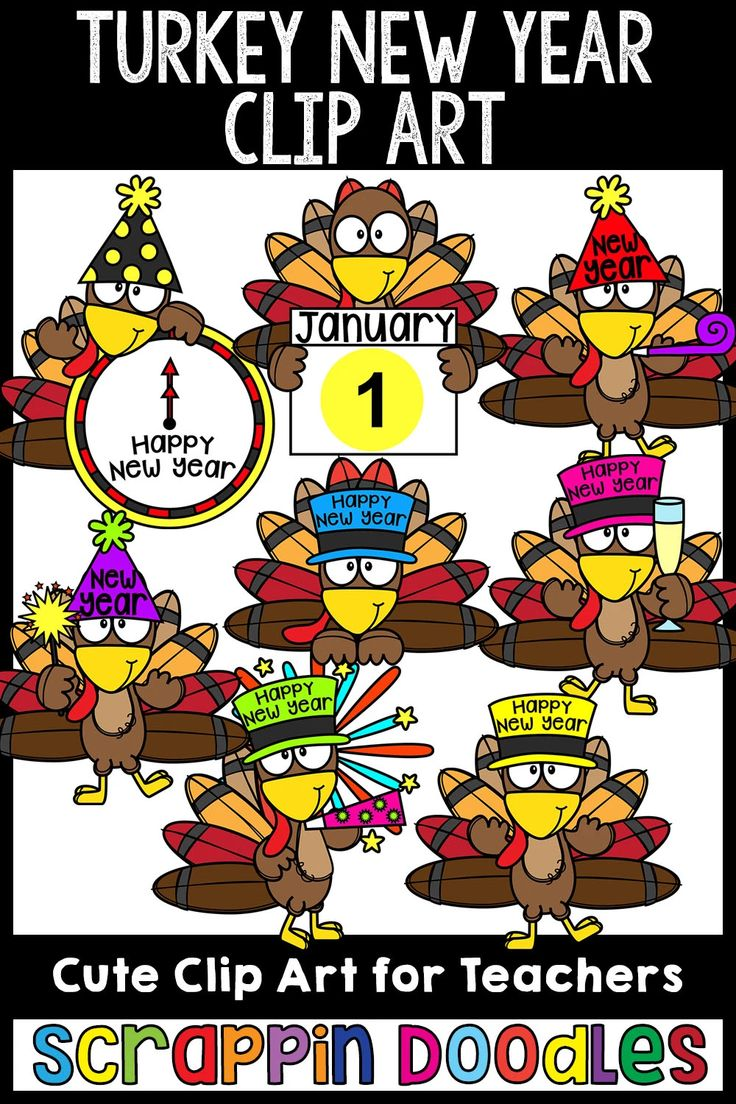Turkey New Year Clip Art in 2020 Clip art, Cute clipart