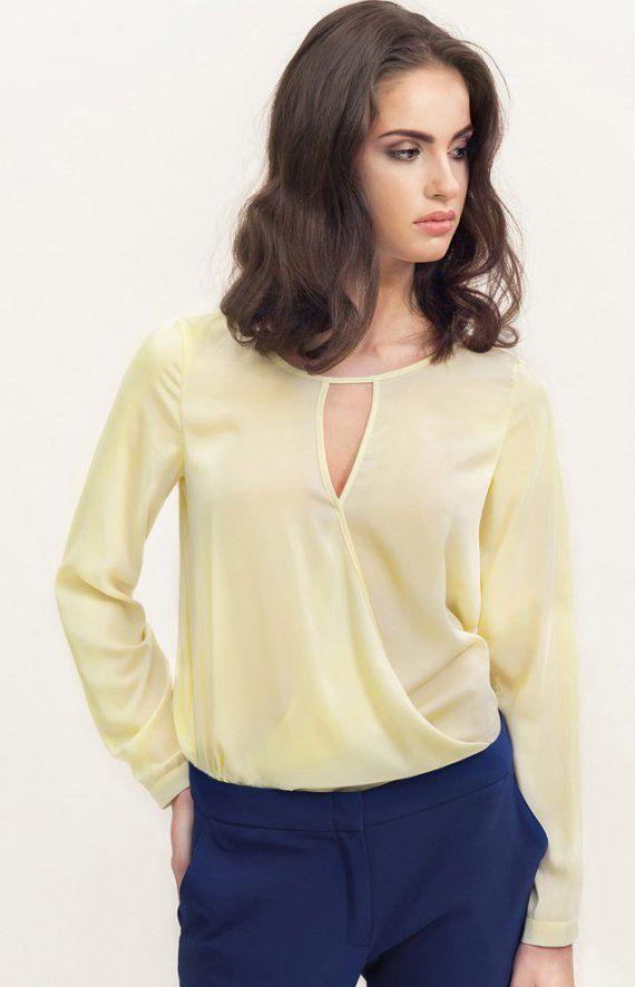 Misebla M0129 bluzka żółta Elegancka bluzka damska