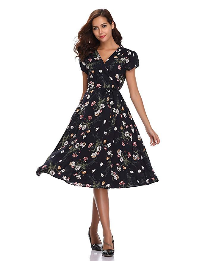 df83f807d702 Floating Time Women's Floral Print Short Sleeve Midi Wrap Dress(S, 801302-2)