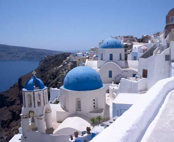 I Loved The Clean White Buildings With Bright Blue Roofs