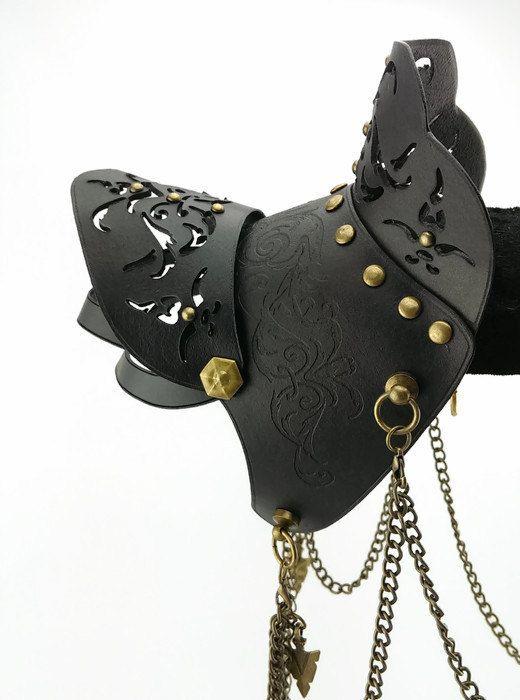 Black Leather Spaulder / Pauldron Shoulder Armor by studioValyr
