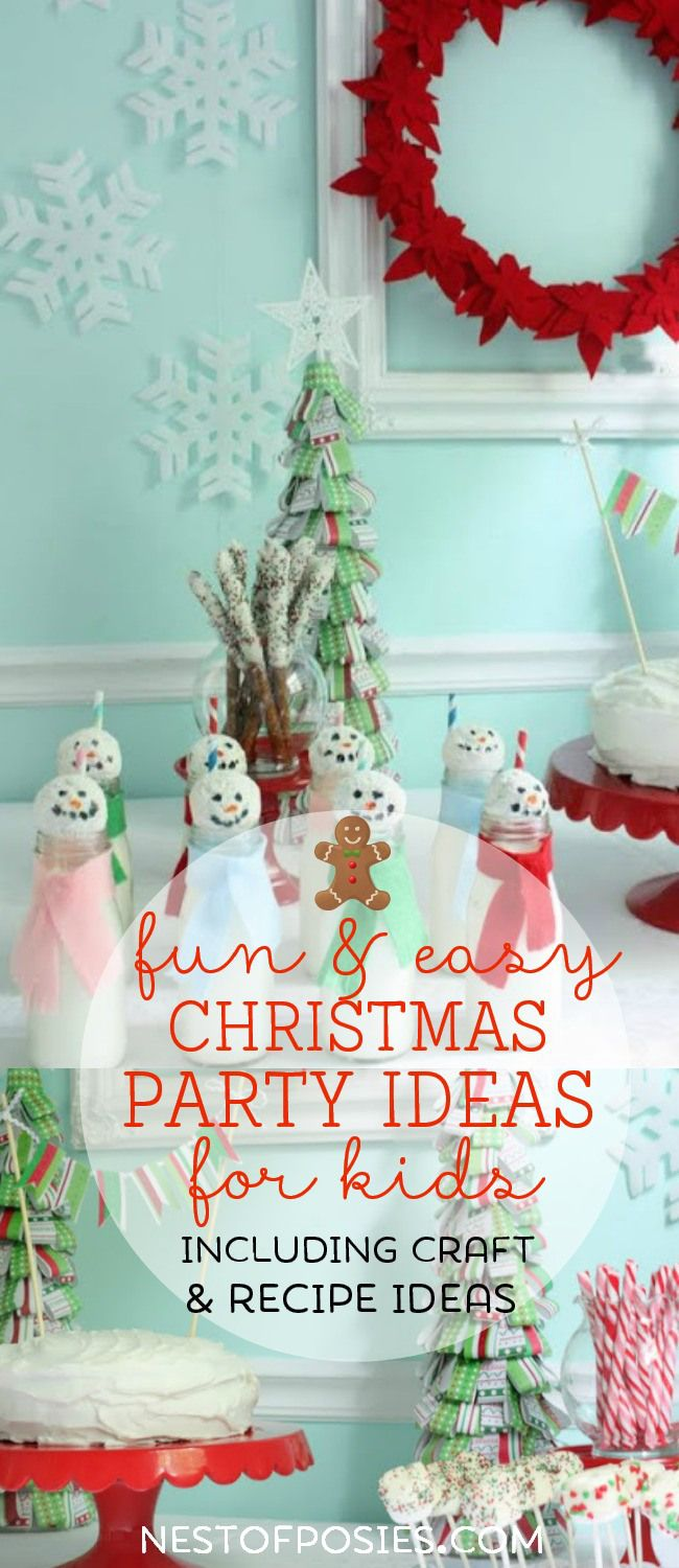 Christmas Party Ideas for Kids!  Including craft and recipe ideas the kids can help make on Christmas break.