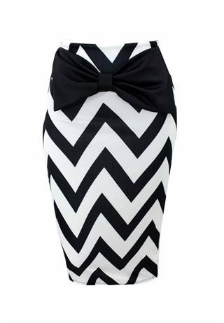 CHEVRON PRINT SCUBA MIDI SKIRT | Body Central