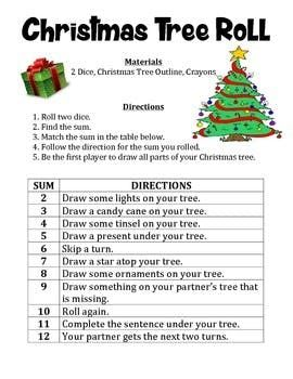 Christmas Tree Roll A Math And Art Activity To Practice Adding 2