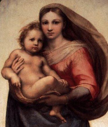 Raphael's Sistine Chapel Madonna and Child. Not shown in picture are the 2 cherub figures Raphael painted at the bottom of this-2 kids that used to sit at window watching him paint. I have them on my Saints board.