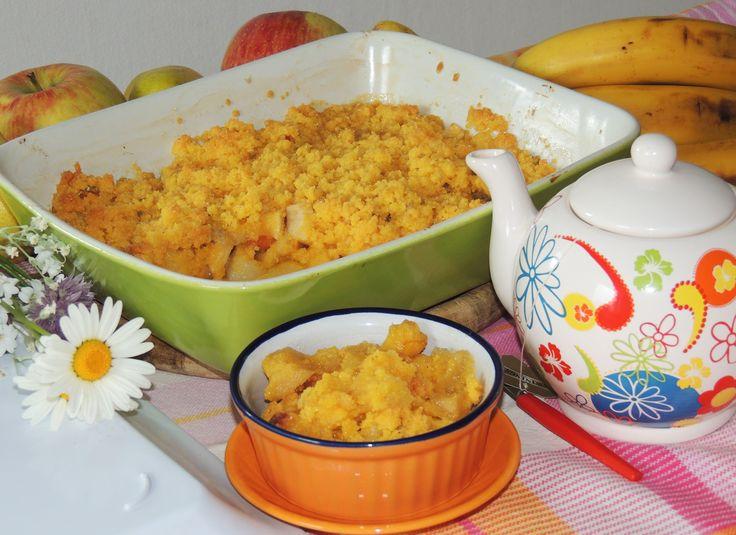 Crumble di mele, pere, pesche e banane http://blog.giallozafferano.it/vdolci/crumble-mele-pere-pesche-banane/