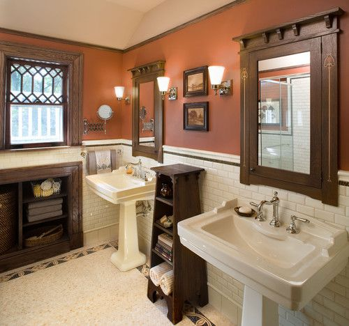 Interesting shade of color on the wall, but it complements the dark fixtures very well... http://www.bathroom-paint.net/bathroom-paint-color.php