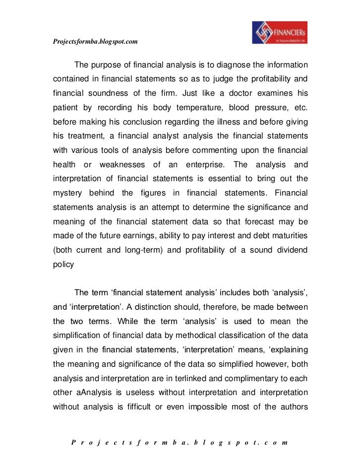Report On Ratio Analysis by A Project Report On Financial Statement