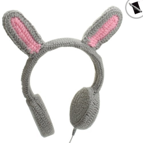 BunnyPHONES Crocheted Rabbit Ear Stereo Headphones With