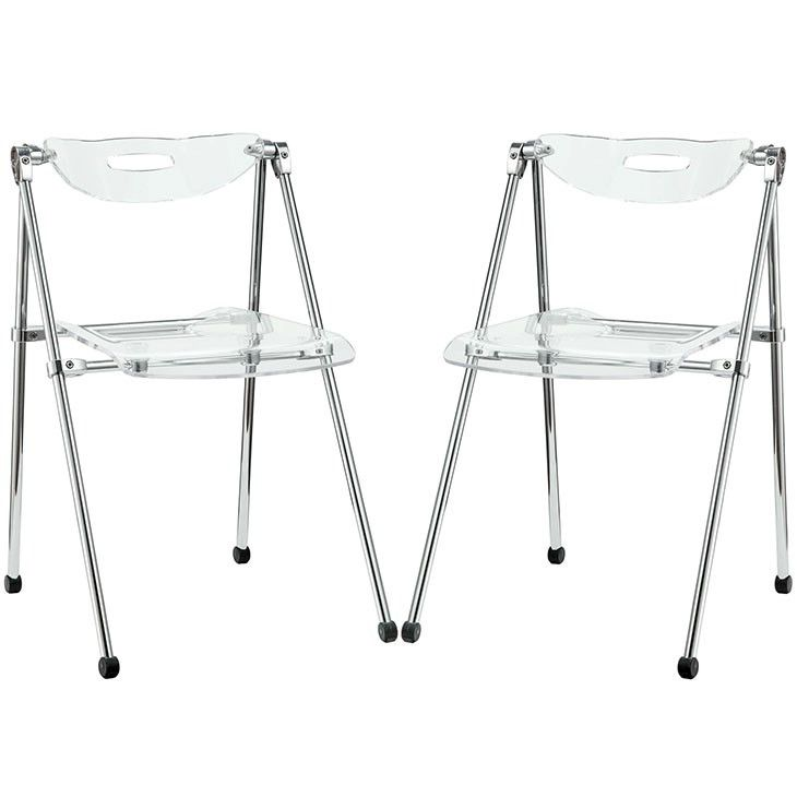Modway Furniture Modern Telescope Set of 2 Dining Chairs In Clear EEI-923-CLR