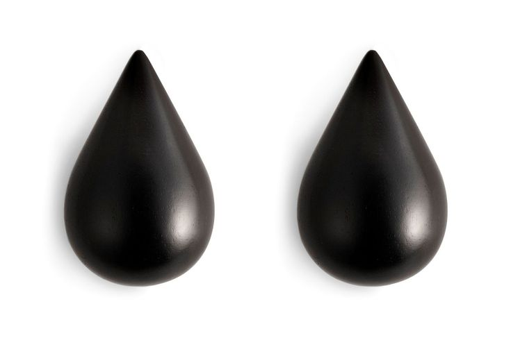 Dřevěné háčky Large Black Drop - set 2 ks | Nordic Day