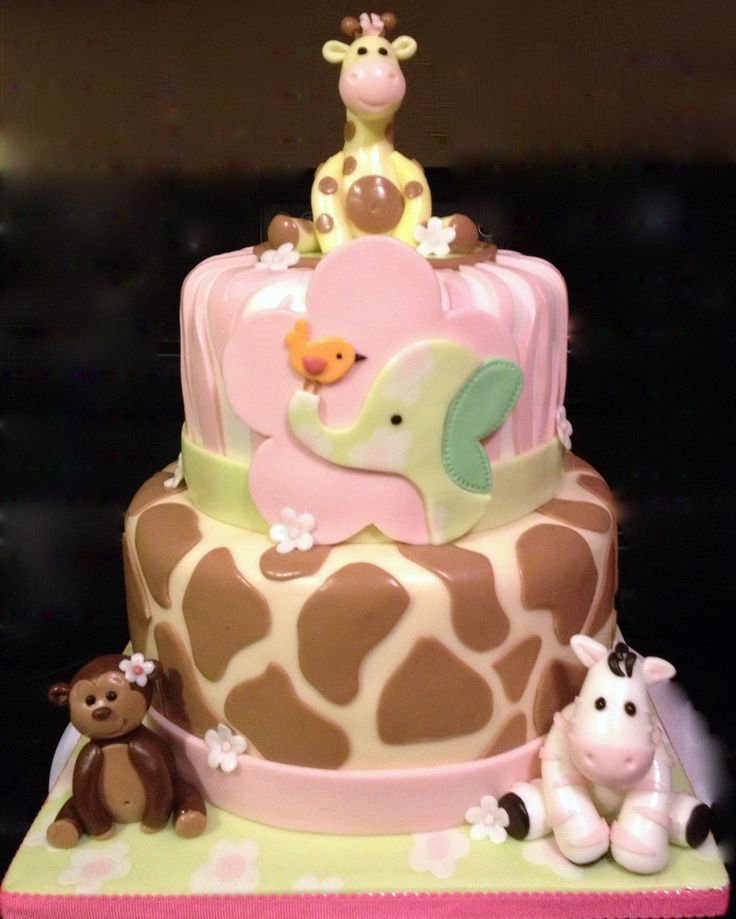 Jungle Jill Themed cake - Baby shower cake decorated in fondant to match the nursery theme. Inspired by KarolynAndrea's beautiful cake. TFL