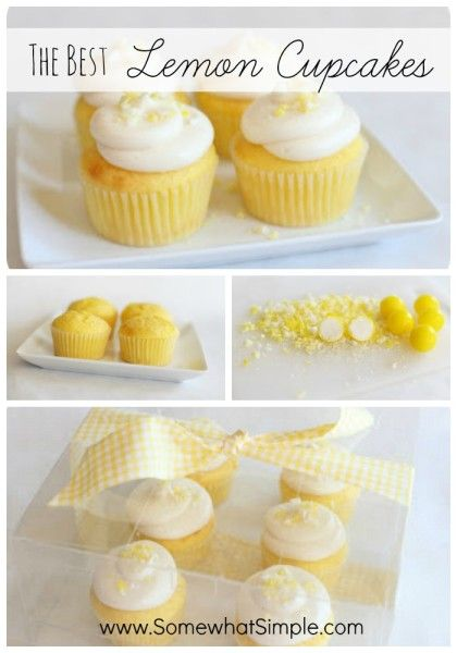 The Best Lemon Cupcakes: Using lemon box mix, small vanilla instant pudding and lemon juice and zest