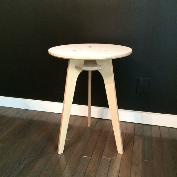 Baltic Birch Modern Side Table - CNC Machined Baltic Birch with Natural Finish & White Painted Top