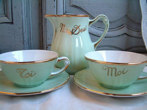Franse Vintage mint groen en gouden huwelijk / paren door Chanteduc