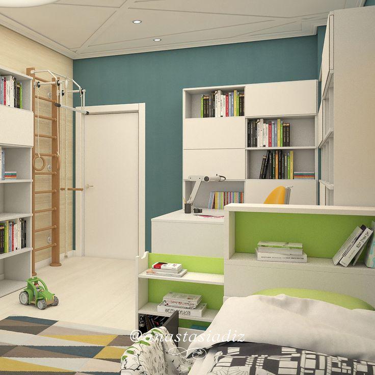 Чередование цвета при правильном подборе цвета стен, очень изящно подчеркивает светлую мебель темный оттенок на стенах, удобный контраст. А с добавлением легкого зеленого появится свежесть в детской, как в данном нашем проекте. Детская комната никогда не будет выглядеть скучно, если использовать современный дизайн, а мы поможем его разработать! #русскиедизайнеры #инстаграм #стиль #красота #дизайнстудия #дизайнпроект #дизайнквартиры #дизайндома #дизайнер #дизайн #студия #интерер #проект…