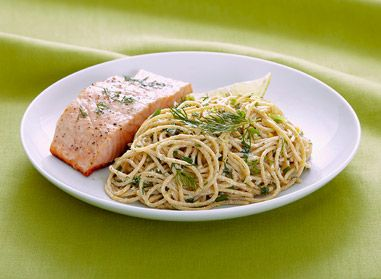 Looking for a healthy recipe? Look no further! This Spaghettini with Parmesan & Herbs meal is nutritious (yay!) and quite tasty. You can pair it with fish or chicken! Your whole family will be asking for more! #pasta #healthy #fish #yummy