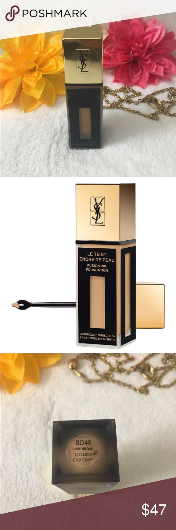 ⚡️Ysl fusion Ink foundation spf 18 bd45⚡️ Authentic brand new with A box Ysl liquid foundation in a warm bisque color . This new formula is long wear with A smooth Matt soft finish but gives coverage . Bd45 Sephora Makeup Foundation