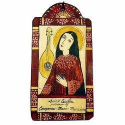 Handprinted Retablos - Welcome the patron saints into your home with these classical images. - Choose from 21 of the most popular Catholic saints, on wall hanging or ornaments. - Taos, NM artist Lynn Garlick has made a name for herself as a retabalero. She paints full-size versions of dozens of Catholic saints of her own design in the classical style. She then hand-prints small versions of these paintings onto Masonite and pine boards you see here.