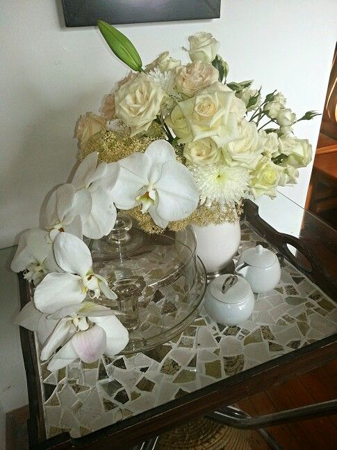 flower design at home... roses and orchids in creams and white