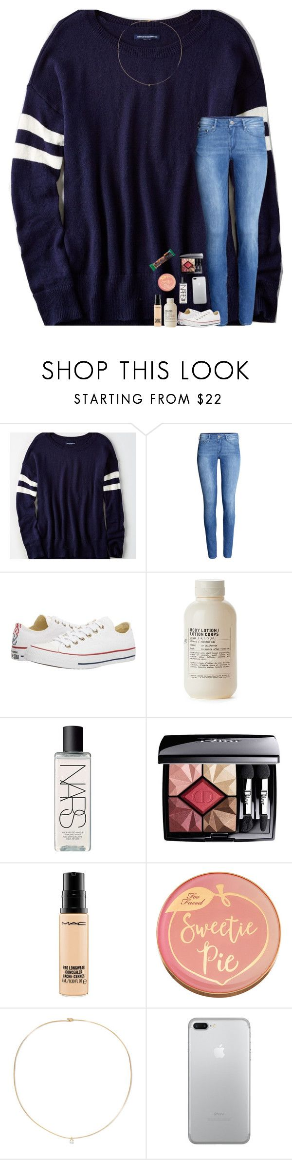 """Going through the motions, cause we can't fix what's broken"" by livpreppydancer ❤ liked on Polyvore featuring American Eagle Outfitters, H&M, Converse, Le Labo, NARS Cosmetics, Christian Dior, MAC Cosmetics, Too Faced Cosmetics and Loren Stewart"