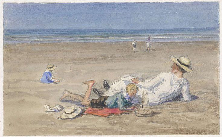 Rustend kindermeisje met twee kinderen op het strand, Johan Antonie de Jonge, 1874 - 1927