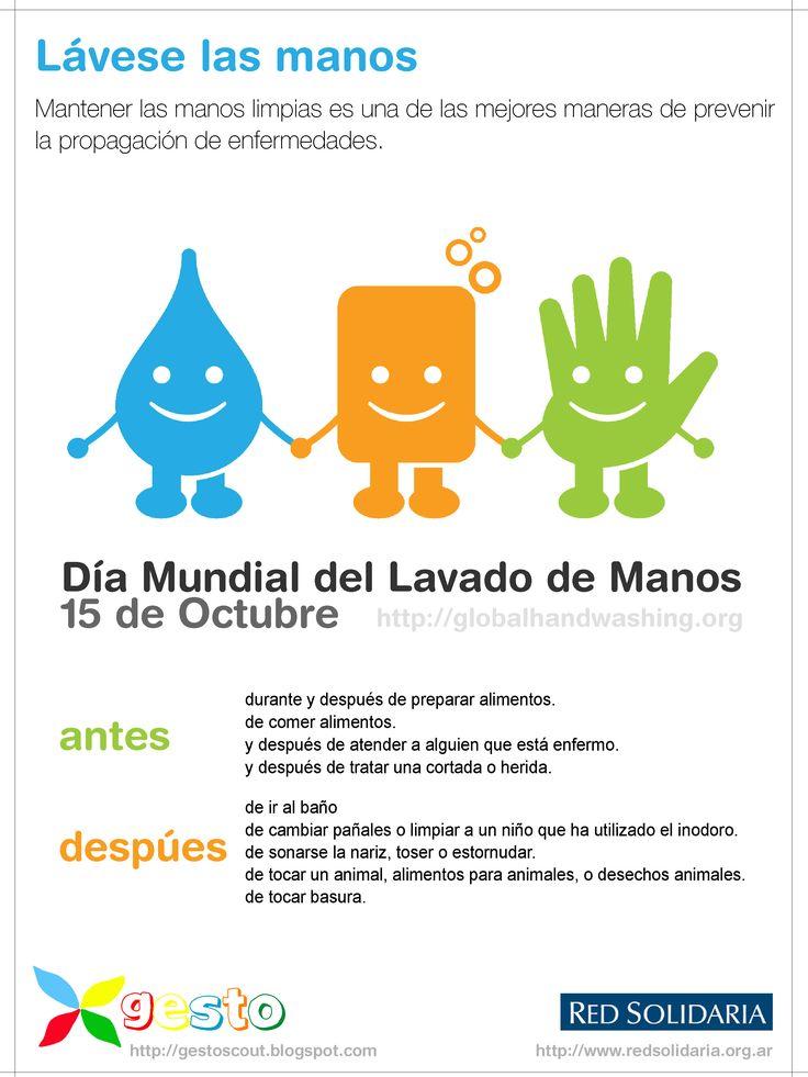 15 de octubre Día Mundial del Lavado de Manos. Lavarse las manos salva vidas.