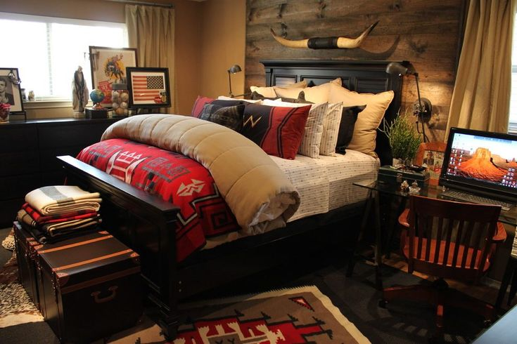 dallas ralph lauren bedding with natural finish decorative objects bedroom southwestern and rustic headboard rug