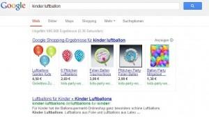 Product Listing Ads (PLA) aus der Google Suchergebnisseite, hier auf der suche nach Kinder Luftballons.