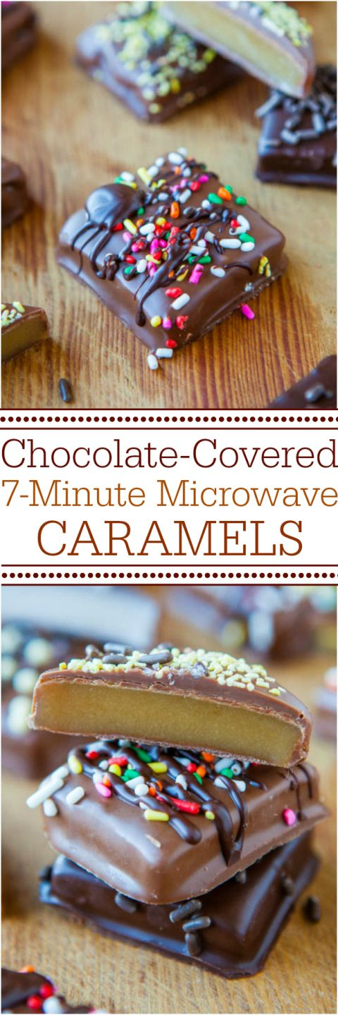 Chocolate-Covered 7-Minute Microwave Caramels - Never fear candy-making again with this no-candy-thermometer, goofproof recipe! The best and easiest caramels ever! Great for holidays and gifts!