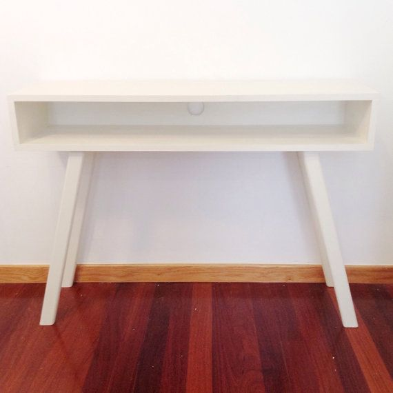 White Console Table Mid Century Modern by VintageHouseCoruna