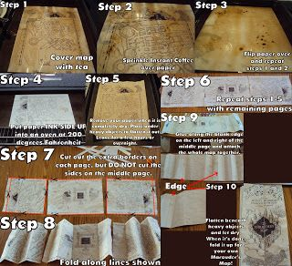 OMG! This is the best thing I've ever found! :3 How to make your own Marauder's Map!!!! Click the link to go to the site and see the instructions step by step or see the larger version of the picture above!! <3