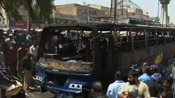 KARACHI: A bus crushed people waiting at a stop in Liaqatabad area # 10 of the city Tuesday.The driver of the bus that was traveling to Hyderabad lost control leading to the accident.