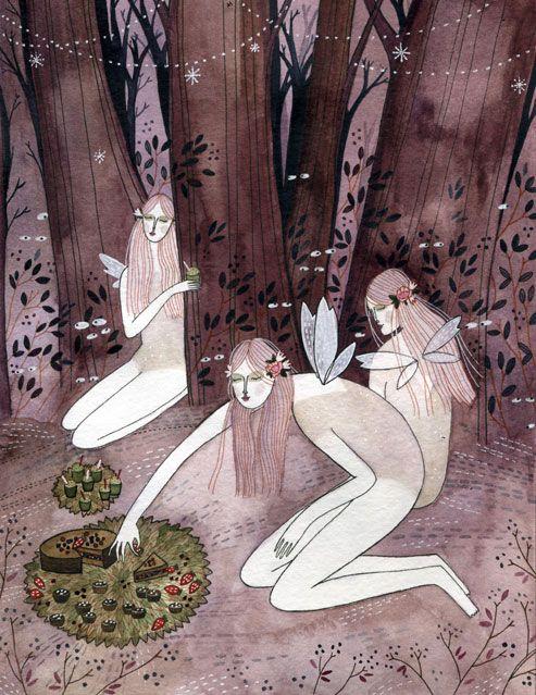 Fairies eating berries, from 'Fairytale Food' by Yelena Bryksenkova