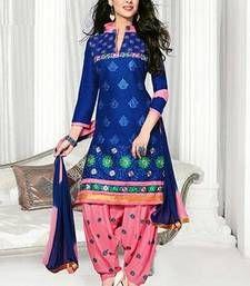 Buy Blue embroidered Cotton unstitched salwar with dupatta punjabi-suit online