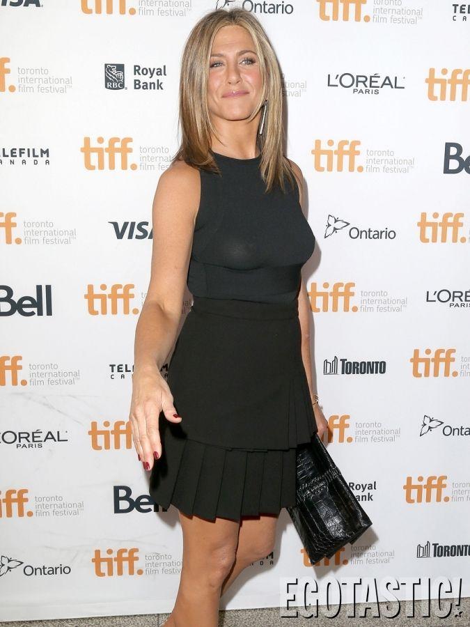 Jennifer Aniston Nipples In See Through Black Dress At