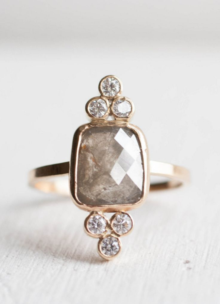 Handcrafted Gray & White Diamond Ring | Mineralogy Design on Etsy