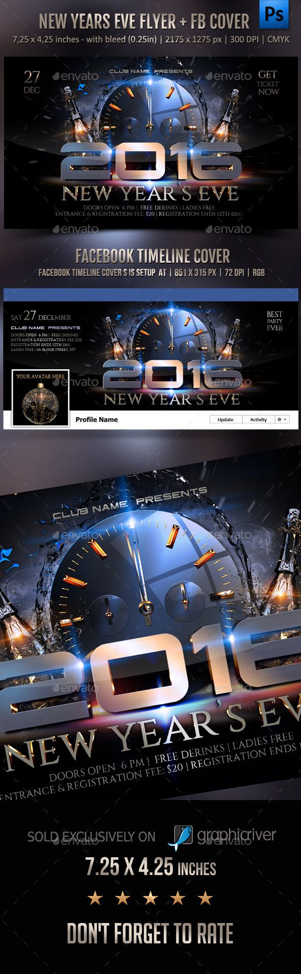 New Year Celebration Flyer + FB Cover Template PSD #design #nye Download: http://graphicriver.net/item/new-year-celebration-flyer-fb-cover/13352460?ref=ksioks